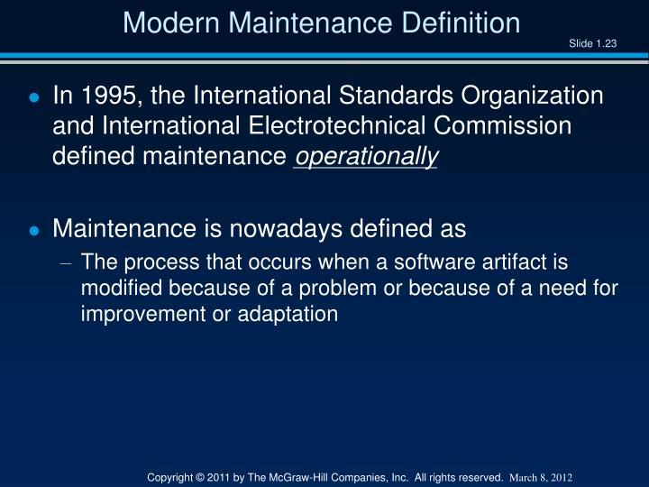 Modern Maintenance Definition