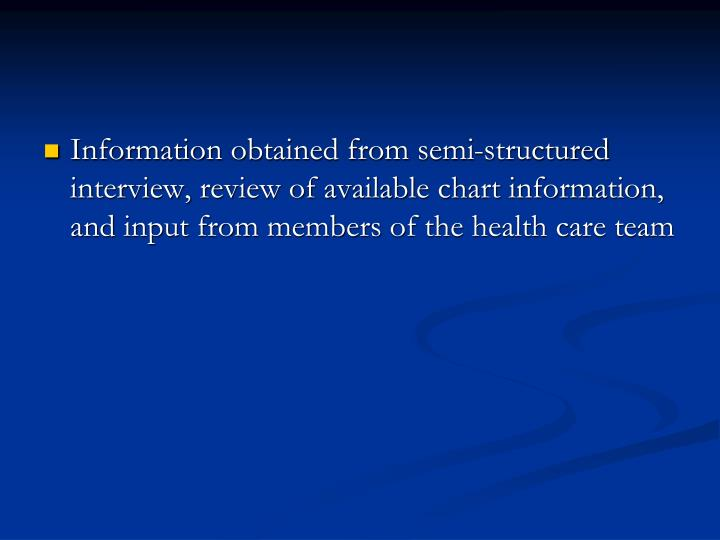 Information obtained from semi-structured interview, review of available chart information, and input from members of the health care team