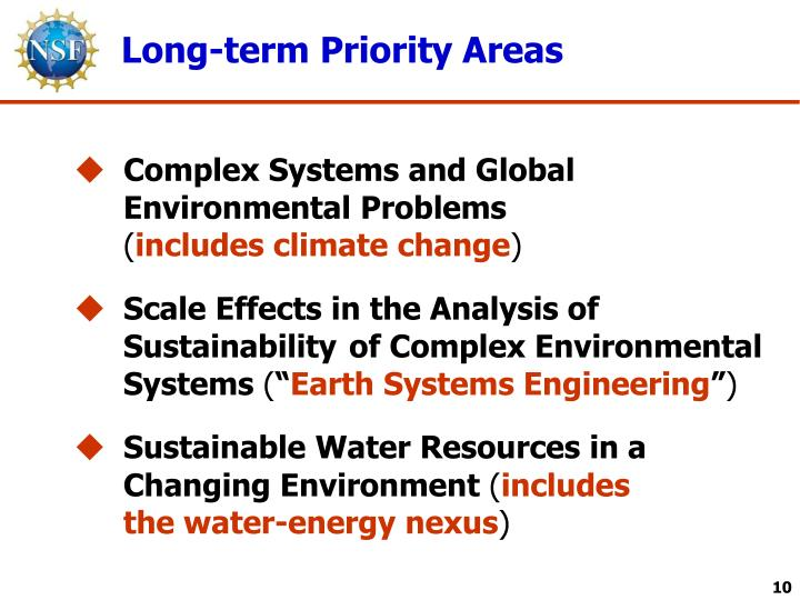 Long-term Priority Areas