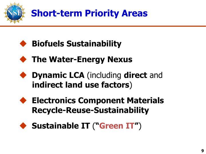 Short-term Priority Areas