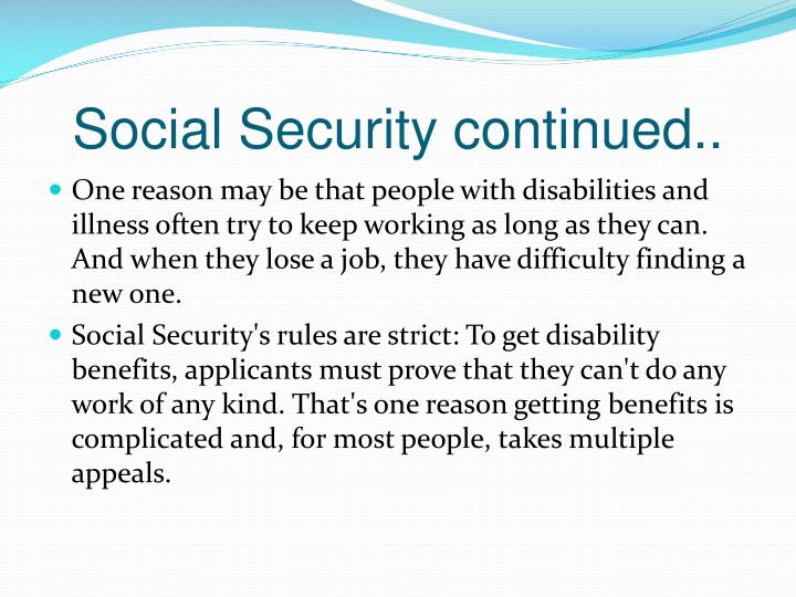 Social Security continued..