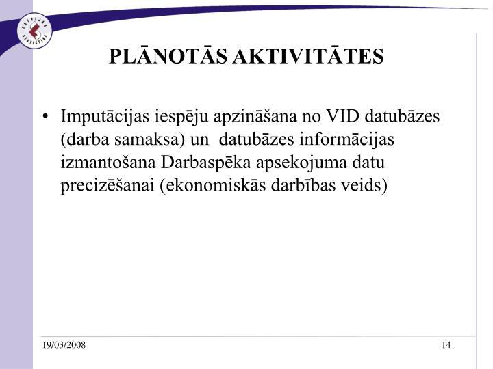 PLĀNOTĀS AKTIVITĀTES
