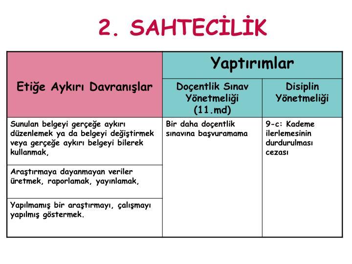 2. SAHTECİLİK
