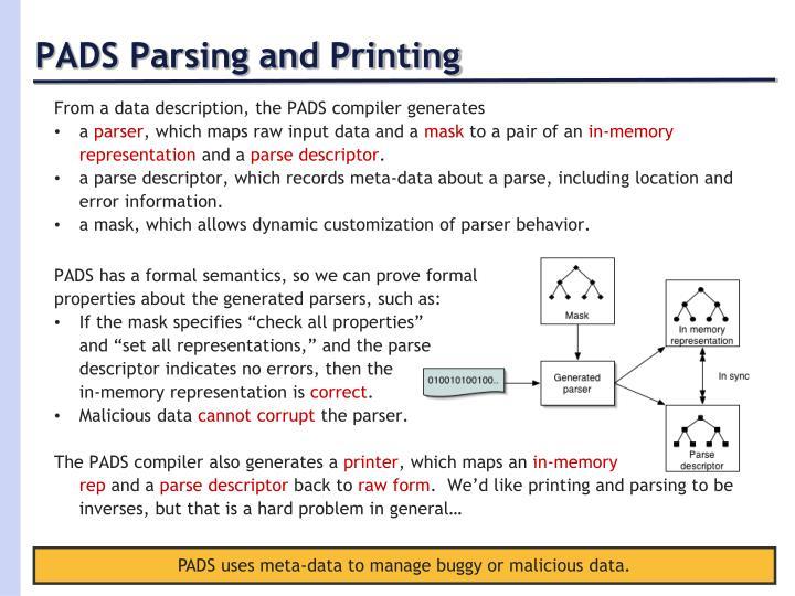 PADS Parsing and Printing