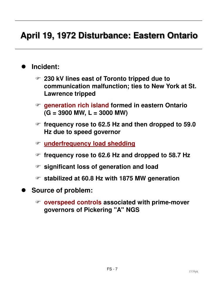 April 19, 1972 Disturbance: Eastern Ontario