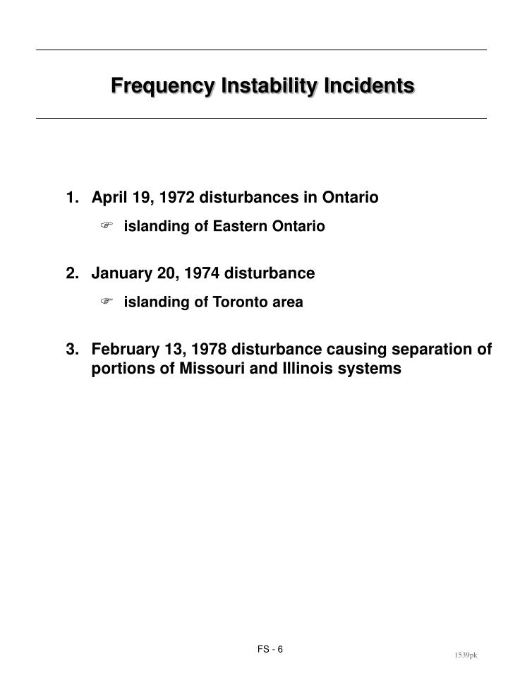Frequency Instability Incidents