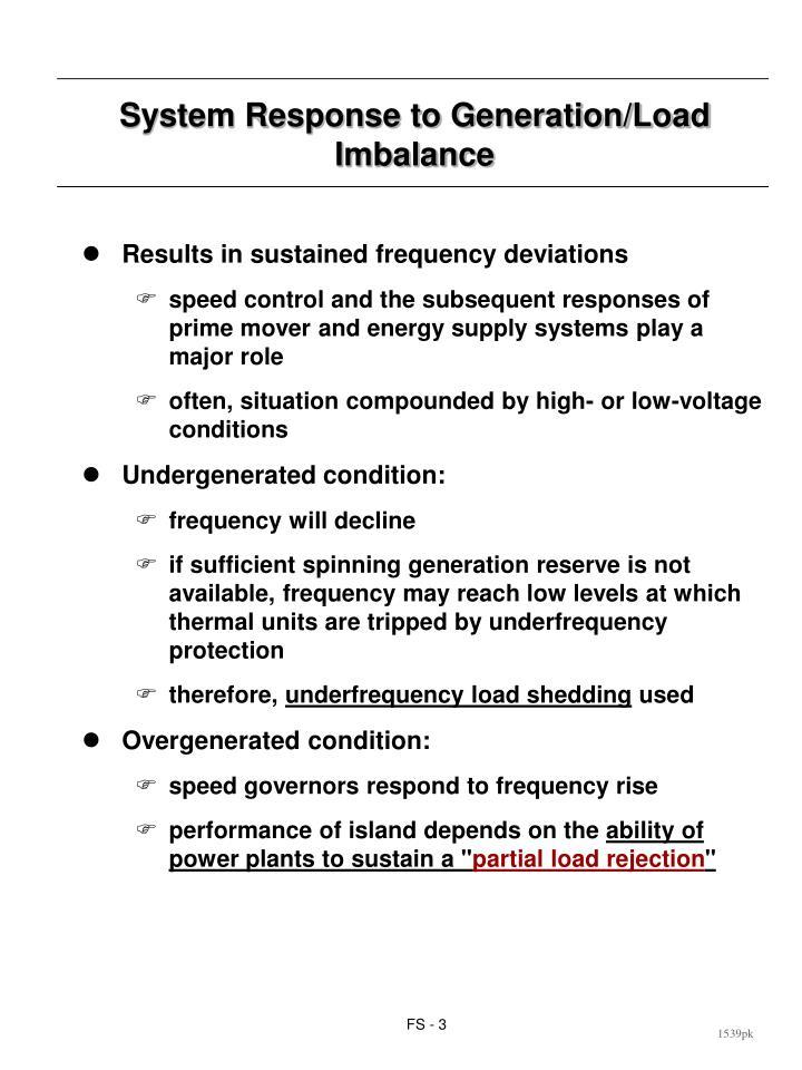 System Response to Generation/Load Imbalance