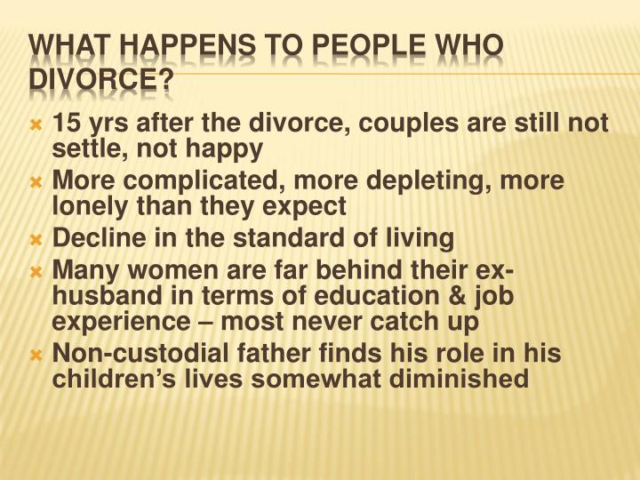 15 yrs after the divorce, couples are still not settle, not happy