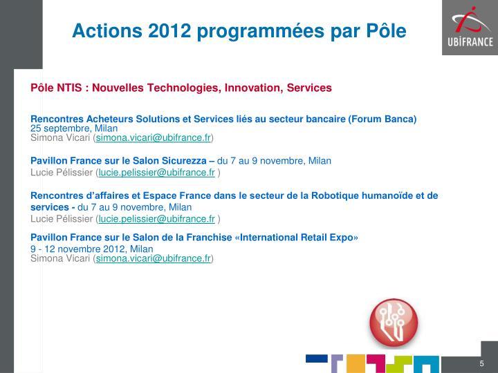 Actions 2012 programmées par Pôle