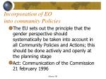 incorporation of eo into community policies