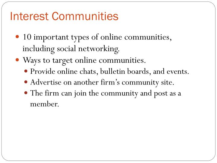 Interest Communities