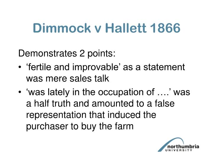 Dimmock v Hallett 1866