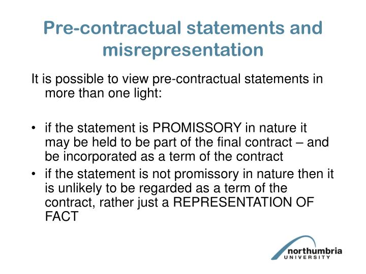 Pre contractual statements and misrepresentation