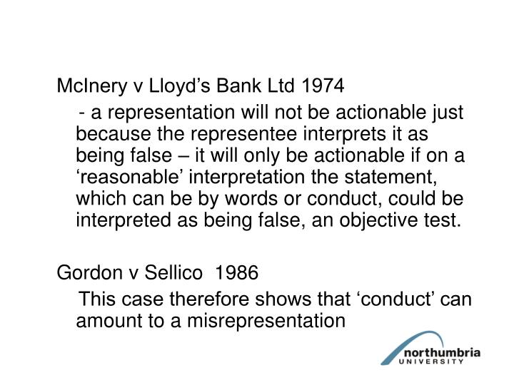 McInery v Lloyd's Bank Ltd 1974
