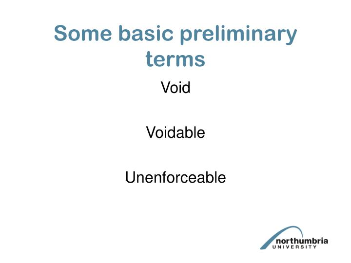 Some basic preliminary terms