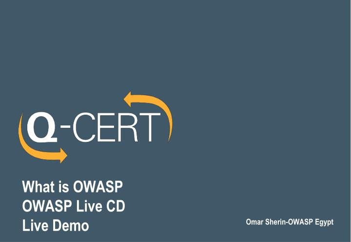 what is owasp owasp live cd live demo n.