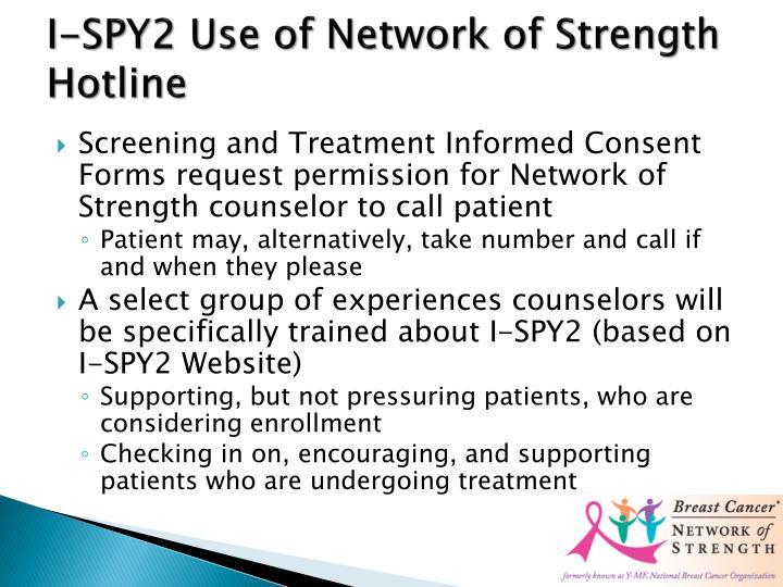 I-SPY2 Use of Network of Strength Hotline