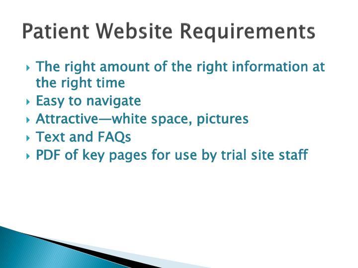 Patient Website Requirements