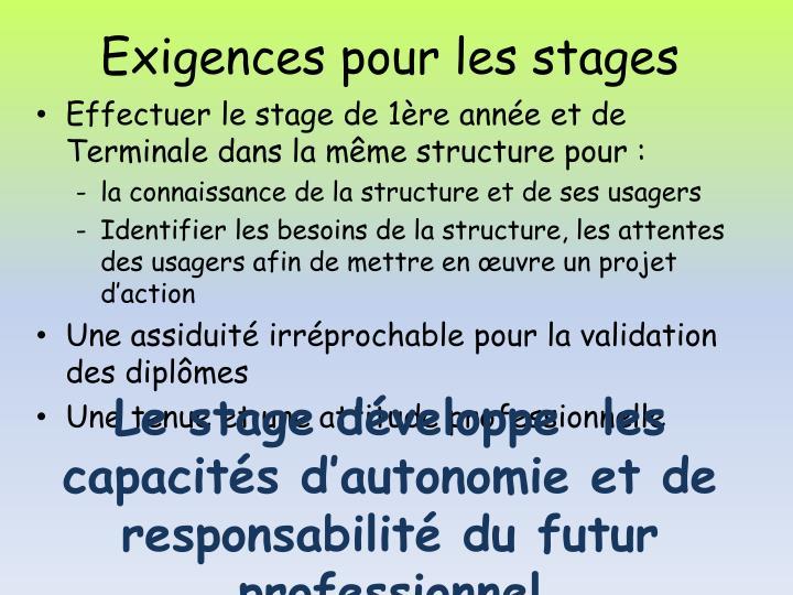 Exigences pour les stages