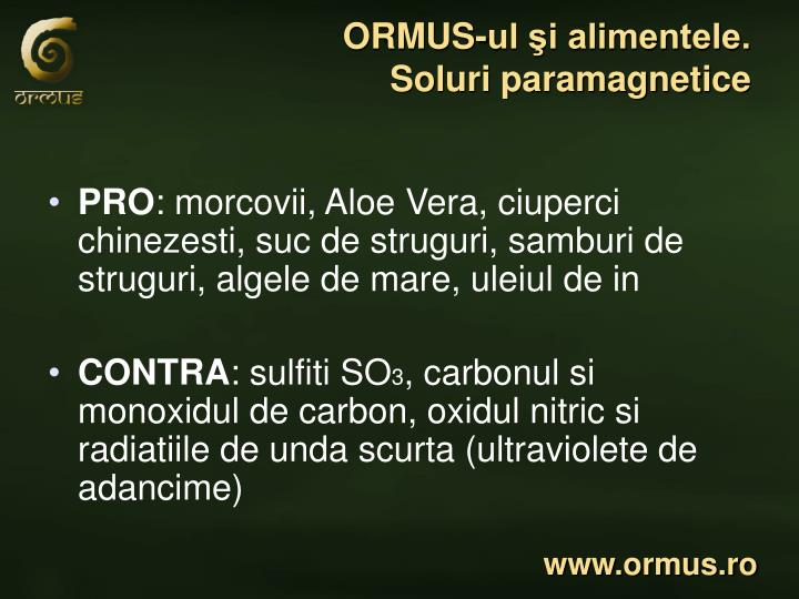 ORMUS-ul şi alimentele.