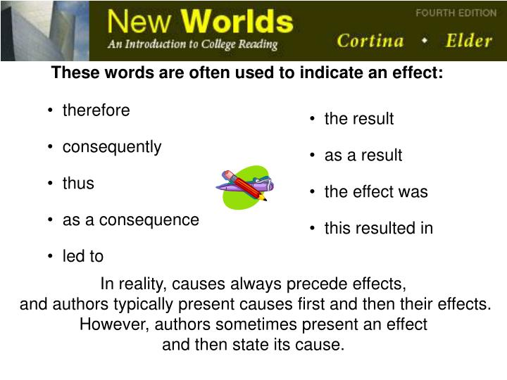 These words are often used to indicate an effect: