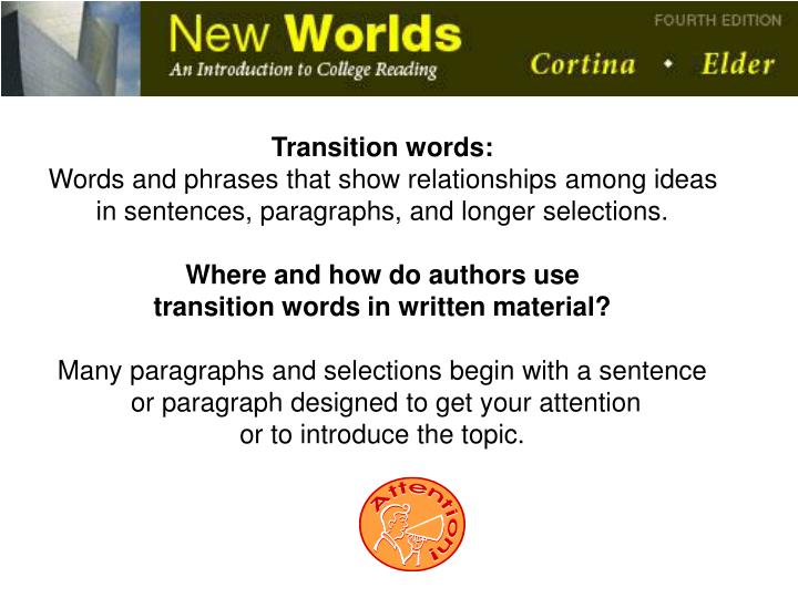 Transition words: