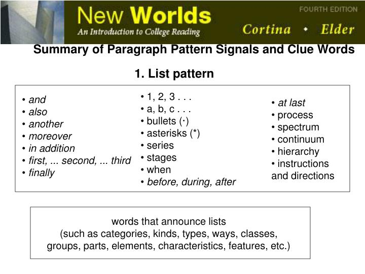 Summary of Paragraph Pattern Signals and Clue Words