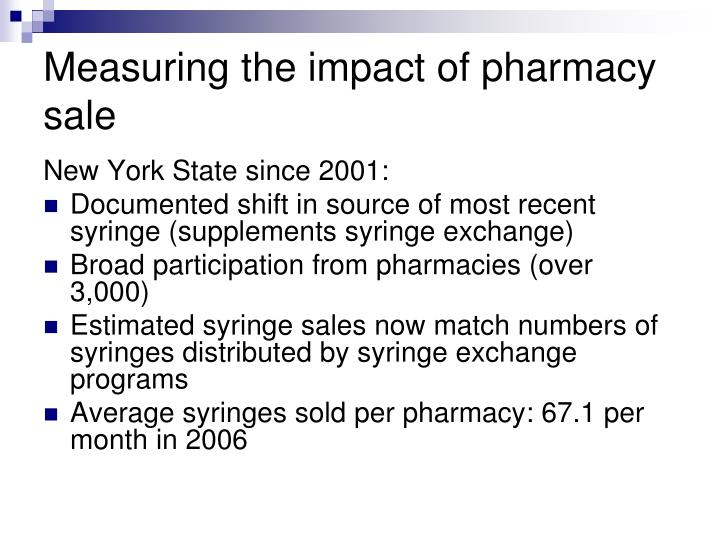 Measuring the impact of pharmacy sale