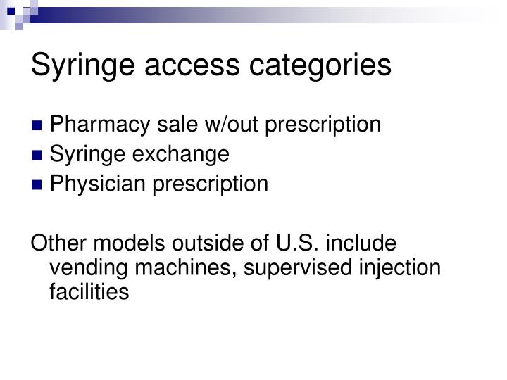 Syringe access categories