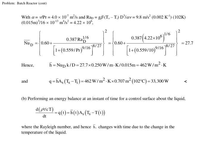 Problem:  Batch Reactor (cont)