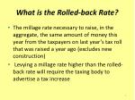 what is the rolled back rate