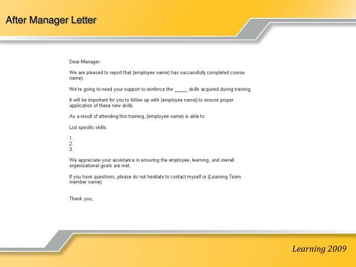 After Manager Letter