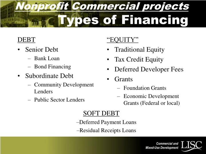 PPT - Nonprofit Commercial projects Types of Financing