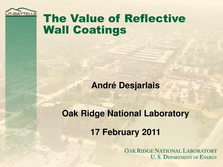 the value of reflective wall coatings n.