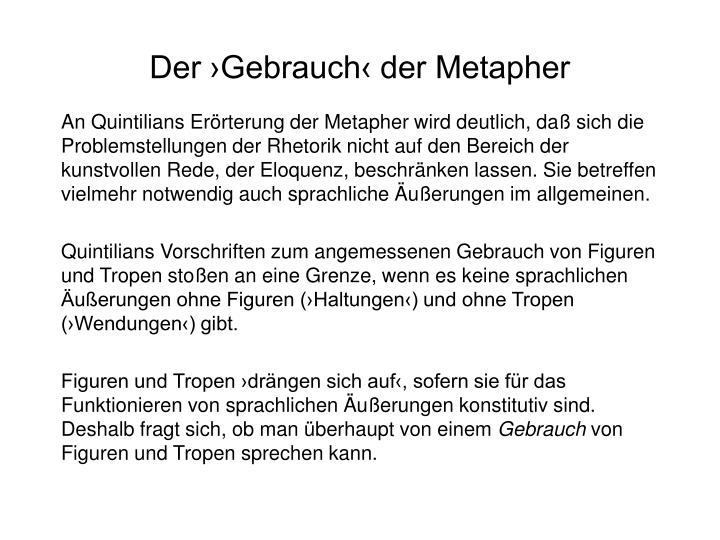 Der ›Gebrauch‹ der Metapher