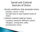 social and cultural sources of stress
