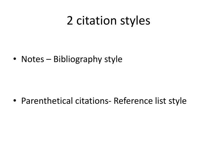 2 citation styles