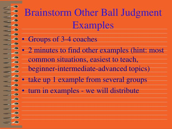 Brainstorm Other Ball Judgment Examples
