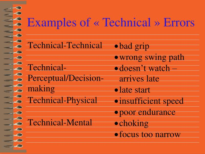 Examples of « Technical » Errors