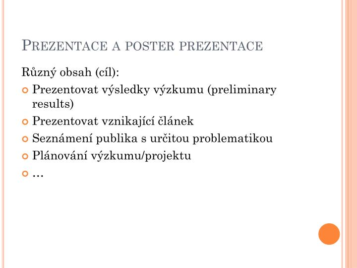 Prezentace a poster prezentace