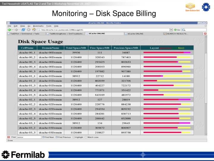 Monitoring – Disk Space Billing