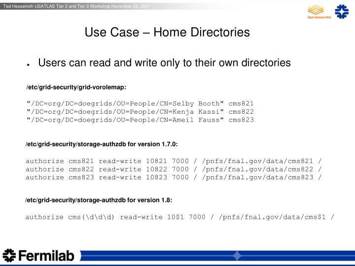Use Case – Home Directories