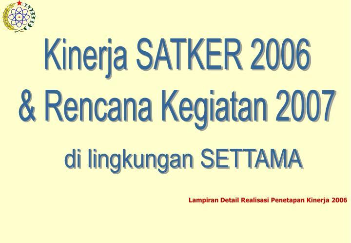 Kinerja SATKER 2006