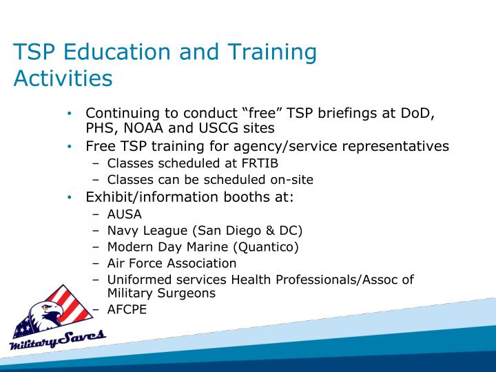 TSP Education and Training Activities