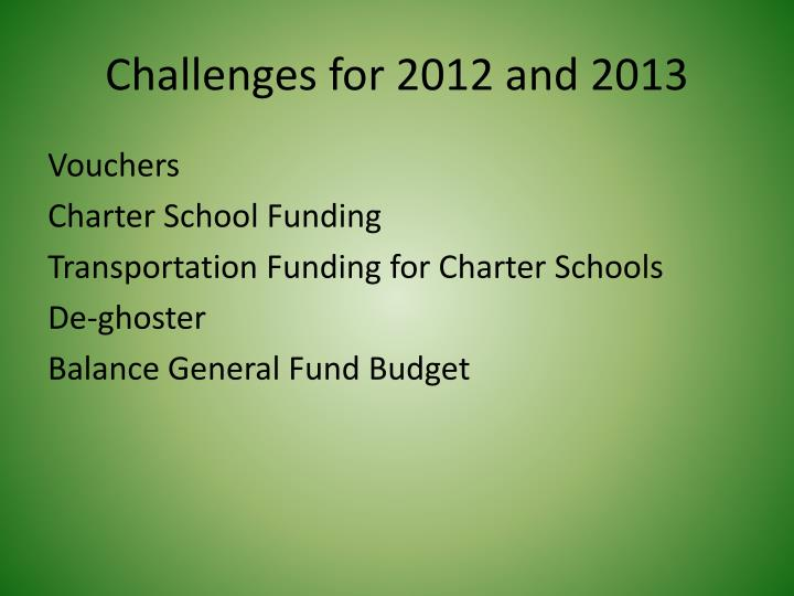 Challenges for 2012 and 2013