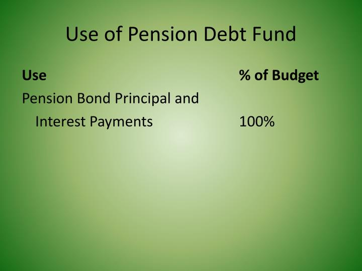 Use of Pension Debt Fund