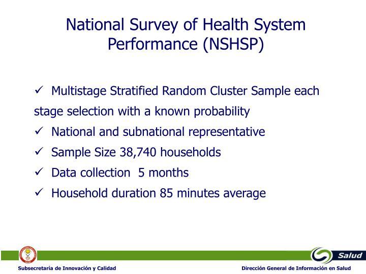 National Survey of Health System Performance (NSHSP)