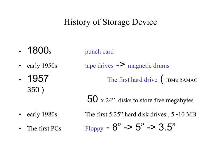 History of storage device