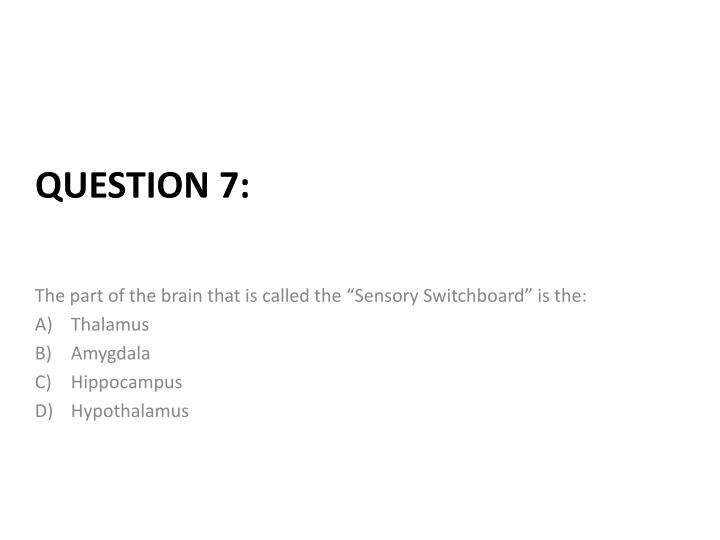 """The part of the brain that is called the """"Sensory Switchboard"""" is the:"""