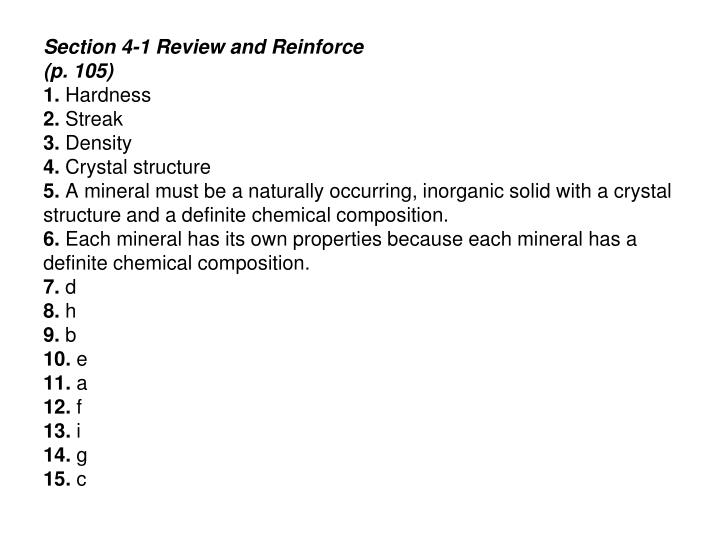 Ppt Inside Earth Chapter 4 Minerals Review And Reinforce Worksheet